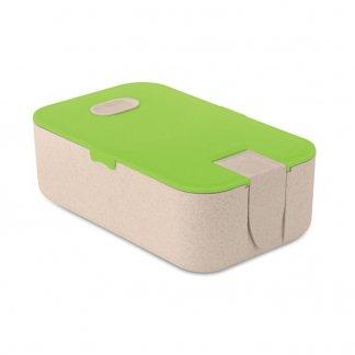 Boîte repas publicitaire en paille de blé et polypropylène - Vert - LUNCH2GO