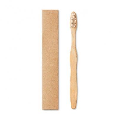 Bosse à Dents Publicitaire En Bambou Et Nylon Blanc DENTOBRUSH