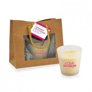 Bougie naturelle parfumée dans verre recyclé et sac kraft personnalisée - Avec marquage - BOUGIE KRAFT
