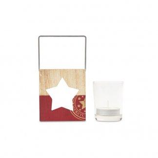 Bougie promotionnelle et photophore en bois étoile - POSTERLIGHT