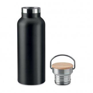 Bouteille isotherme personnalisable de 500ml en inox et bambou - Noir ouvert - HELSINKI