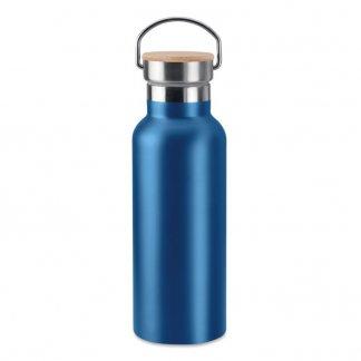 Bouteille isotherme publicitaire de 500ml en inox et bambou - Bleu - HELSINKI