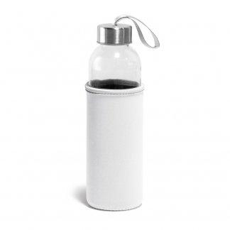 Bouteille personnalisable en verre avec housse en soft-shell - 520ml - beige - RAISE