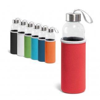 Bouteille personnalisable en verre avec housse en soft-shell - 520ml - couleurs - RAISE