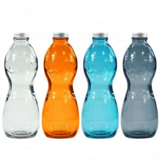 Bouteille personnalisable en verre recyclé - 1000ml - 4 couleurs - AQUA GLOUGLOU