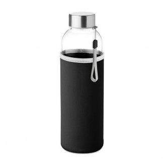 Bouteille personnalisée en verre avec housse néoprène - Noir - 500ml  - UTAH GLASS
