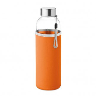 Bouteille promotionnelle en verre avec housse néoprène - Orange - 500ml  - UTAH GLASS