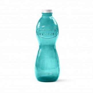 Bouteille publicitaire en verre recyclé verte - 1L - AQUA GLOUGLOU