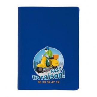 Cahier A5 ou A6 publicitaire avec couverture en PVC souple - bleu - COLOR PVC