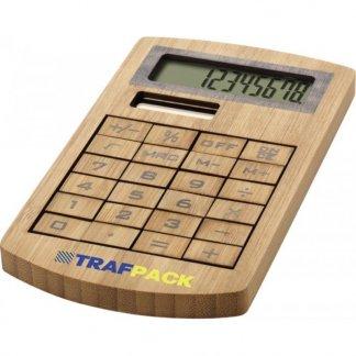 Calculatrice de poche solaire personnalisable en bambou - logo - BAMBOSOL