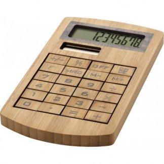 Calculatrice de poche solaire promotionnelle en bambou - naturel- BAMBOSOL