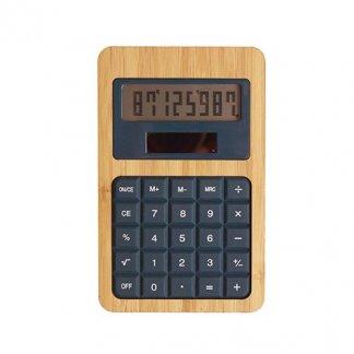 Calculatrice publicitaire de poche solaire en bambou et silicone - bleu marine - SILICAL