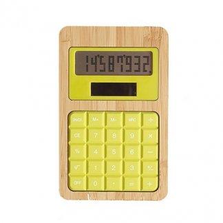 Calculatrice publicitaire de poche solaire en bambou et silicone - vert anis - SILICAL