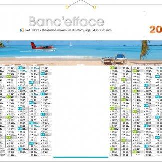 Calendrier bancaire effaçable - 2018 - 43x55cm - BANC'EFFACE