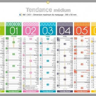Calendrier bancaire rigide avec décoration - 2018 - 32x42cm - TENDANCE