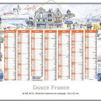 Calendrier bancaire rigide avec décoration - 2018 - 43x55cm - DOUBLE FRANCE