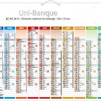 Calendrier bancaire rigide avec décoration - 2018 - 43x65cm - UNI-BANQUE