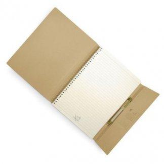 Carnet A4 à A6 + stylo publicitaire en carton recyclé - naturel - 3S