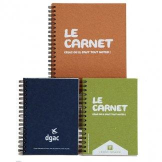 Carnet A4 à A7 en carton recyclé - 3 couleurs - WIRECART