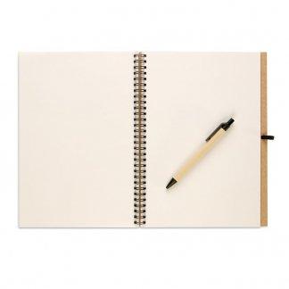 Carnet A4 + stylo en carton recyclé publicitaire - Intérieur - BLOQUERO