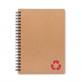 Carnet A5 en carton recyclé et papier de pierre personnalisé  - rouge - STONEBOOK