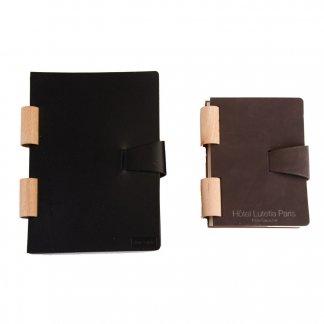 Carnet A5 ou A6 promotionnel en cuir recyclé avec reliure bois - 2 formats - BOCARNET