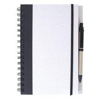 Carnet A5 publicitaire + stylo en carton recyclé - blanc - HORIZON