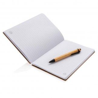 Carnet A5 + stylo en bambou personnalisé - Ouvert - XDBAMB