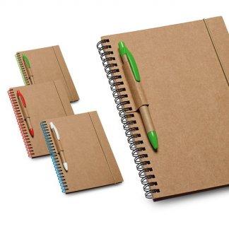 Carnet A5 + stylo en carton naturel publicitaire - 4 couleurs - UPEN