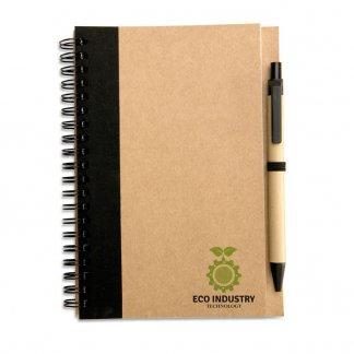 Carnet A5 + stylo en carton recyclé publicitaire - Noir avec marquage - SONORA PLUS
