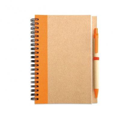 Carnet A5 + Stylo En Carton Recyclé Publicitaire Orange SONORA PLUS