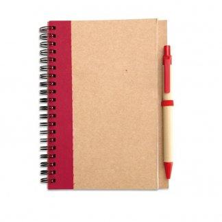 Carnet A5 + stylo en carton recyclé publicitaire - Rouge - SONORA PLUS