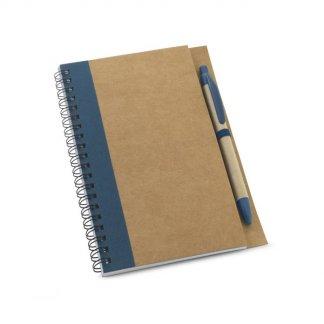 Carnet A5 + stylo personnalisable en carton naturel - bleu - CRAFT