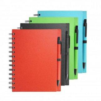 Carnet A5 + stylo promotionnel en carton recyclé - 4 couleurs - ELSY