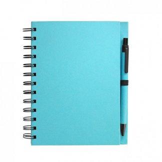 Carnet A5 + stylo promotionnel en carton recyclé - Turquoise - ELSY