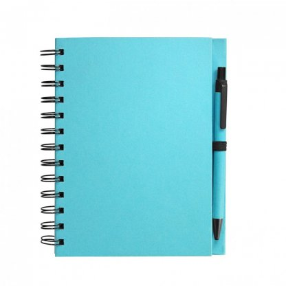 Carnet A5 + Stylo Promotionnel En Carton Recyclé Turquoise ELSY