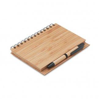 Carnet A5 + stylo publicitaire en bambou - A plat - BAMBLOC