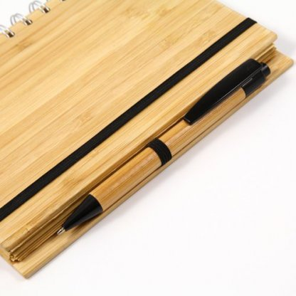 Carnet A5 + Stylo Publicitaire En Bambou Zoom PIKLE