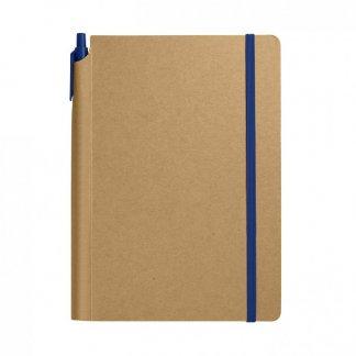 Carnet A5 + stylo publicitaire en carton recyclé - Bleu - BIONOTE