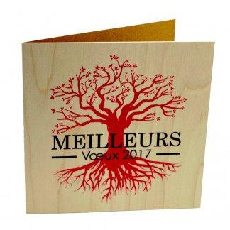 Carte de voeux en bois naturel certifié promotionnel- Arbre - érable - VOEUX NATURE