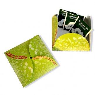 Carte de voeux fleur avec sachet de graines personnalisée - ouvert-fermé - CARTEFLEUR