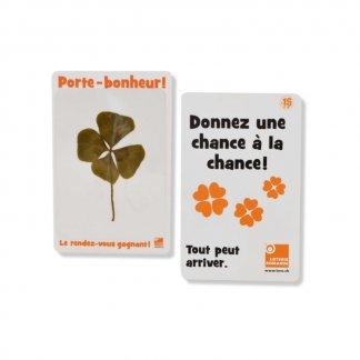 Carte personnalisée avec trèfle à 4 feuilles - Orange - PORTE BONHEUR