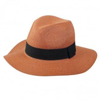 Chapeau personnalisable ajustable en paille de papier - terracotta - FEDORA