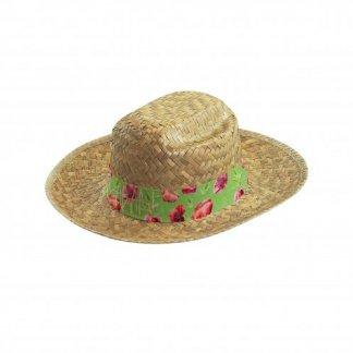 Chapeau personnalisé en paille dorée - bandeau coloré - HAVANA