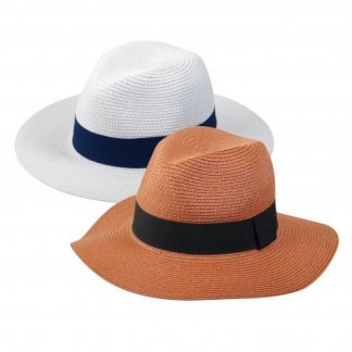 Chapeau promotionnel ajustable en paille de papier - 2 couleurs - FEDORA