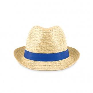 Chapeau promotionnel en paille de papier - bleu - BOOGIE