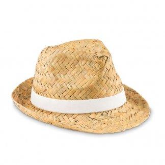 Chapeau promotionnel en paille naturelle - Blanc - MONTEVIDEO