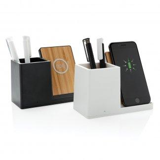 Chargeur à induction promotionnel avec pot à crayon en bambou - 2 couleurs - ONTARIO
