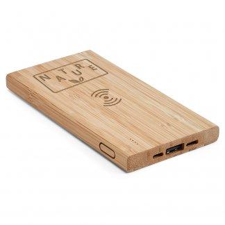 Chargeur nomade personnalisé avec fonction induction en bambou - 5000mAh - Avec logo - FITCH