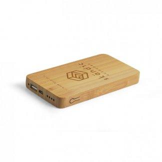 Chargeur nomade personnalisé avec fonction induction en bambou - 6000mAh - Avec gravure - INDUBOU